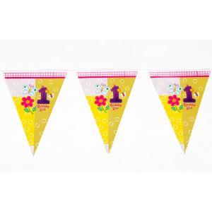 Fun At 1 Girl Theme Triangular Flag Banner (12 Flags/Pack)