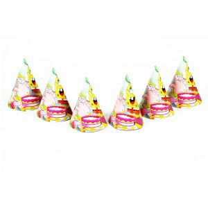 Spongy Bob Theme Party Cone Caps (6 Pcs/Pack)