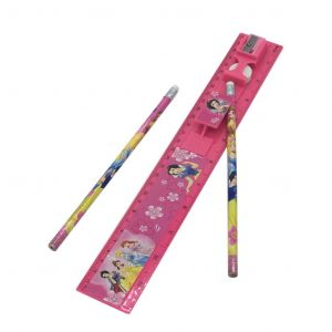 Three Princess Scale Ruler Set With 2 Pencils,  Rubber And Sharpner Kit