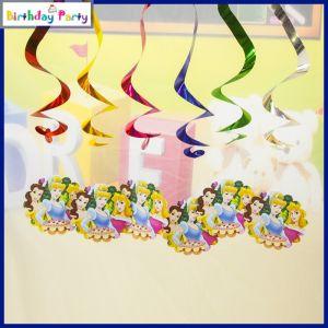 Three Princess Theme Swirl Decorations 6 Pcs/Pack