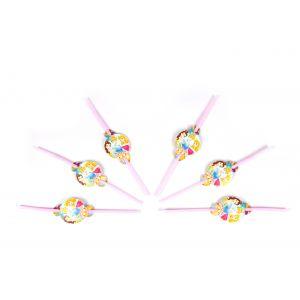 Three Princess Theme Drinking Straws (6 Pcs/Pack)