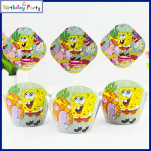 Spongy Bob Theme Cup Cake Wrapper & toppers(24 Pcs In A Pack)
