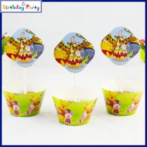 Winnie The Pooh Theme Cup Cake Wrapper & toppers(24 Pcs In A Pack)