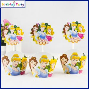 Three Princess Theme Cup Cake Wrapper & toppers(24 Pcs In A Pack)