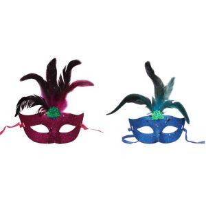 Glittery Eye Masks With Feathers (Pack Of 2 Assorted Colors)