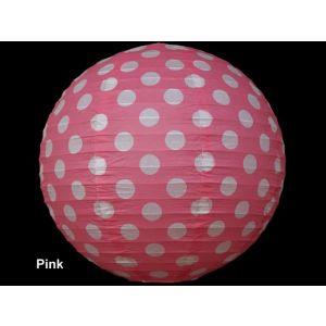 Polka Dot 12 Inches Paper Lantern - Baby Pink