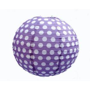 Polka Dot 12 Inches Paper Lantern-Purple