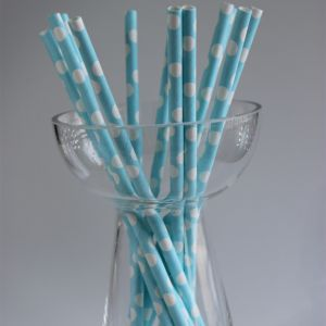Polka Dot Paper Straws - Blue