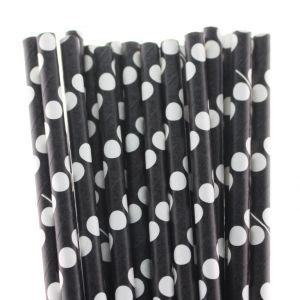 Polka Dot Paper Straws 25Pcs Black
