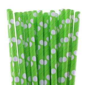 Polka Dot Paper Straws 25Pcs Green