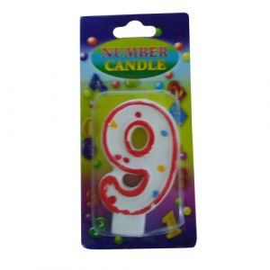 Funcart Red Color Numerical Number 9 Dotted Candle