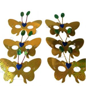 Golden Paper Butterfly Eye Mask (Pack Of 6)