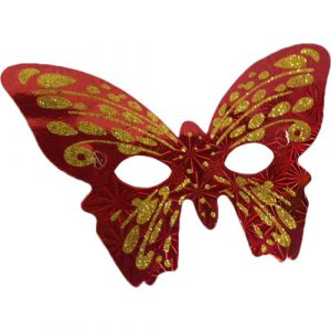 Funcart Red & Gold Butterfly paper Eye Mask (pack of 6)