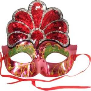 Funcart Fancy Eye Mask with ornate sequin design-Red