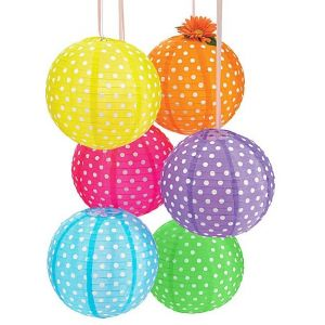 Funcart 14'' Polka dot lanterns assorted colors ( 6 in a pack)
